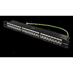 Deltaco STP patchpanel, 24xRJ45 CAT6a (Krone-plintar)