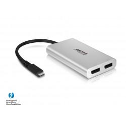 AKiTiO Thunderbolt 3 till Dual DisplayPort-adapter