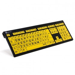 Logickeyboard Largeprint Nero för PC, Slim Line (Black On Yellow)