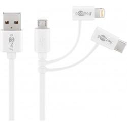 3 i 1 USB-kabel med micro-USB, Lightning och USB-C