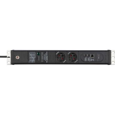 "Brennenstuhl Premium-Web-Line V3 Internet Extension Socket 19"" with Surge Protection 2-way black 3m"