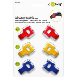 Cable management set with hook-and-loop fastener with loop (6 pcs)