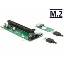 Delock Riser Card M.2 Key B+M to PCI Express x16 with 30 cm USB cable