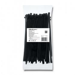 Qoltec Self-locking cable tie 4.8x300mm, Nylon UV, Black