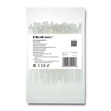 Qoltec Self-locking cable tie 2.5x150mm, Nylon UV, White