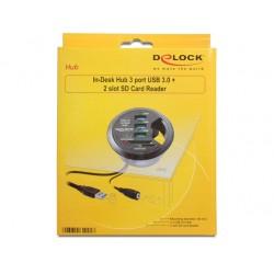Delock Skrivbordshubb USB 3.0 3 portar + SD-kortläsare